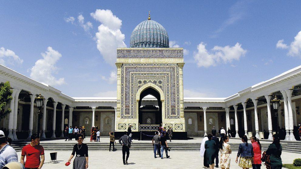 Samarcande. À 25 kilomètres de la ville se trouve un des hauts lieux de pélerinage de l'islam, le mausolée d'al-Boukhari (810-870), un des saints les plus vénérés d'Ouzbékistan.
