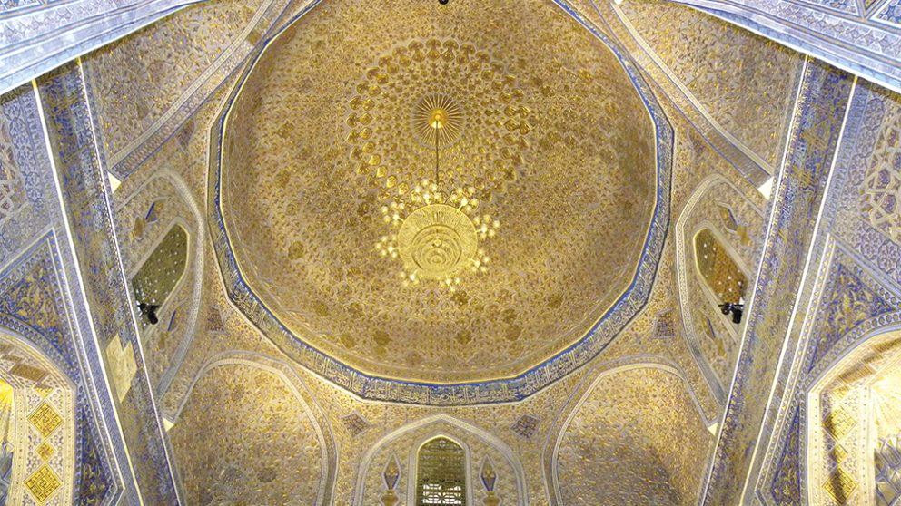 Samarcande. Plafond du mausolée Gour Emir (