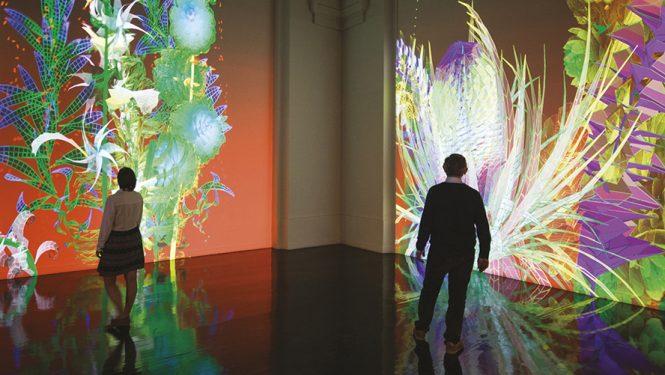 Extra-Natural 2018, Miguel Chevalier. Oeuvre de réalité virtuelle générative et interactive qui fait entrer le visiteur dans un autre monde © Miguel Chevalier