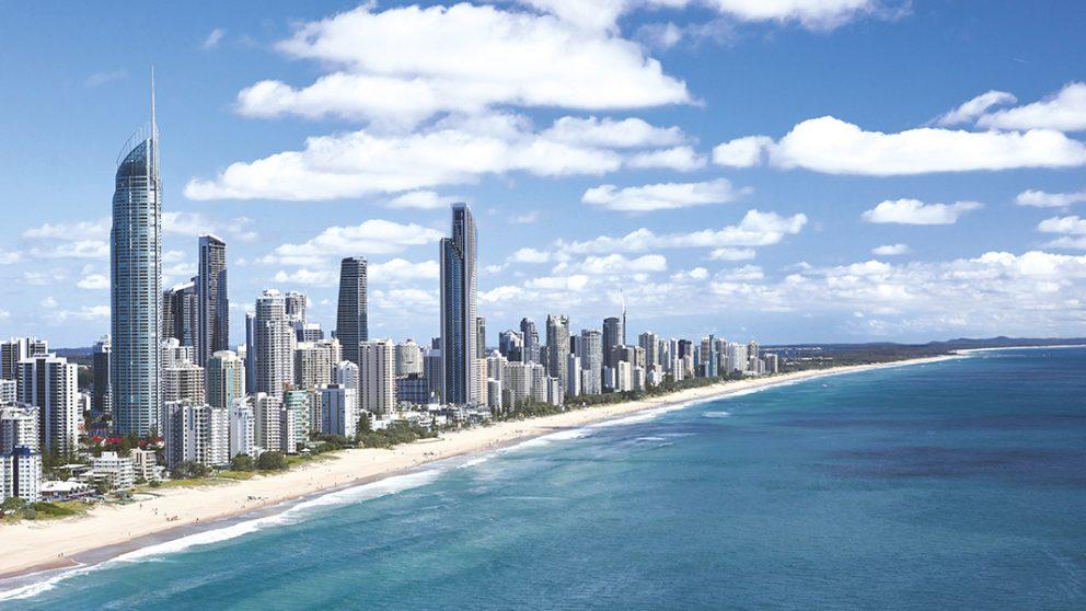 Queensland. Pas de surf sur les plages de la Gold Coast protégée par la Grande Barrière de corail.