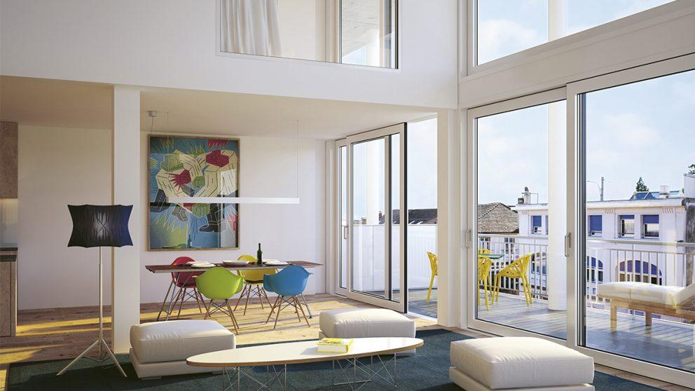 Loft en duplex, vue intérieure, image de sythèse. Les chambres dont à étage. Les pièces de vie en bas, ouvertes sur toute la façade de verre de 6 mètres de haut.
