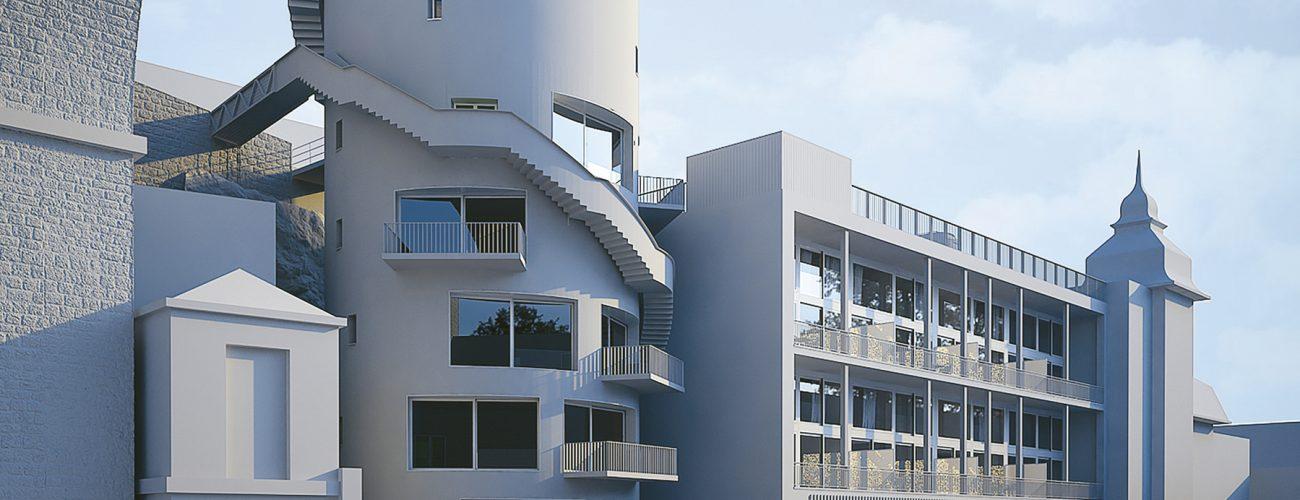 Image de synthèse du chantier complet : l'ancien silo à sucre de Suchard, l'ancien hangar à palettes transformé en lofts et le bâtiment historique.