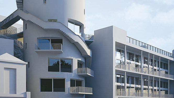 Image de synthèse du chantier complet : l'ancien silo à sucre de Suchard, l'ancien hangar à palettes transformé en lofts et le bâtiment historique