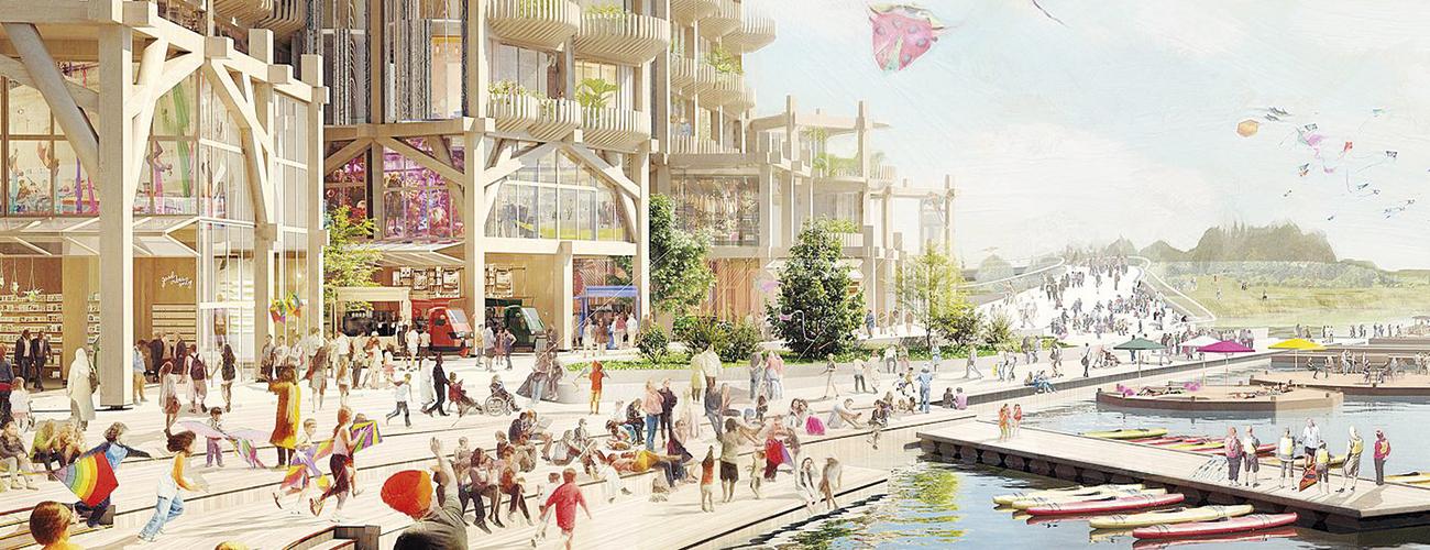 Vue idéalisée de la future ville de Google, qui verra le jour à Toronto, au Canada.