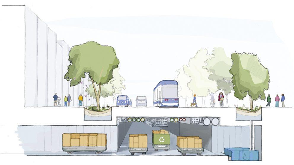 Coupe d'une rue de la nouvelle smart city de Toronto, qui promet un mieux vivre ensemble.