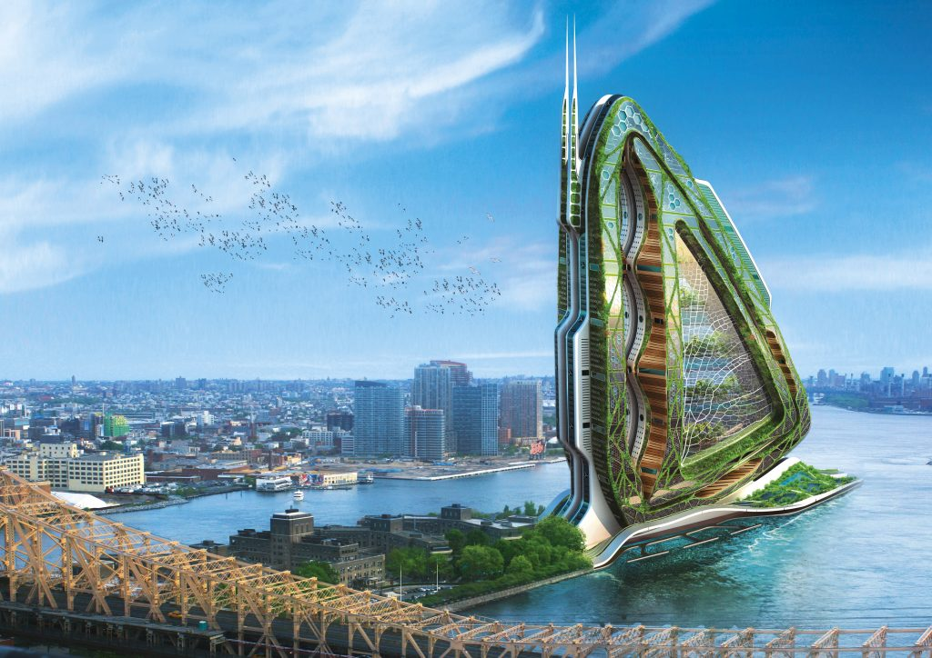 La nature est le véritable architecte des villes fertiles. Une tour Dragonfly pourra fournir assez de légumes, de fruits, de céréales, de lait et de viande à 50 000 personnes grâce à l'utilisation optimisée de l'eau et de la lumière.