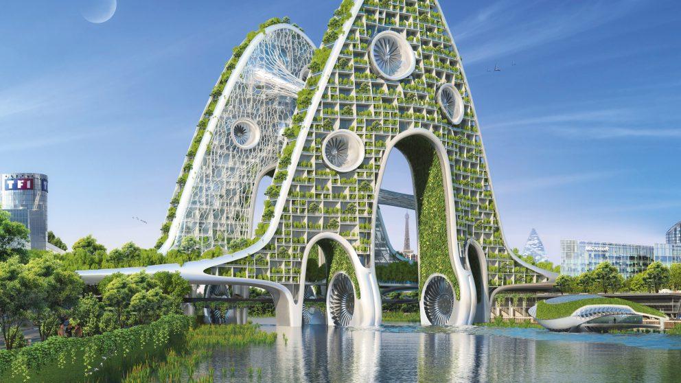 En 2050, Paris sera une ville fertile. Les ponts sur la Seine supporteront habitations et fermes verticales. Le courant de la rivière et le vent apporteront l'énergie nécessaire au confort des habitants et aux productions agricoles.