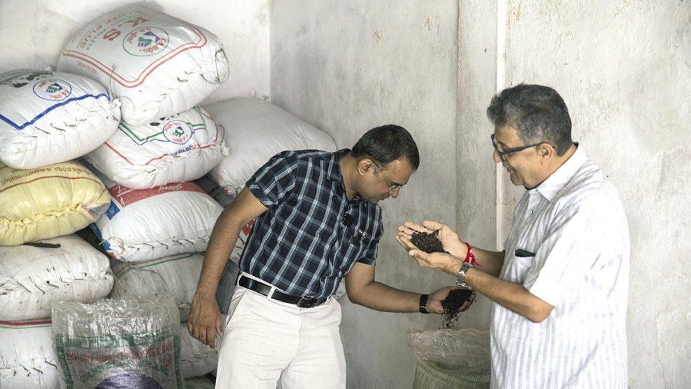 Vente d'épices en gros. Anand Kishor Kuruwa, marchand d'épices de père en fils, touche, sent et inspecte les épices avant d'enchérir sur des lots.