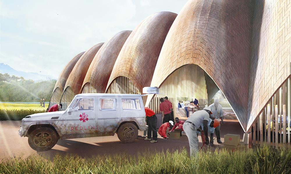 Red Line Project, Drone Port, Rwanda, 2015. En association avec l'École polytechnique fédérale de Lausanne (EPFL) et Afrotech, l'architecte a imaginé un point d'attache pour des drones associé à un centre communautaire.