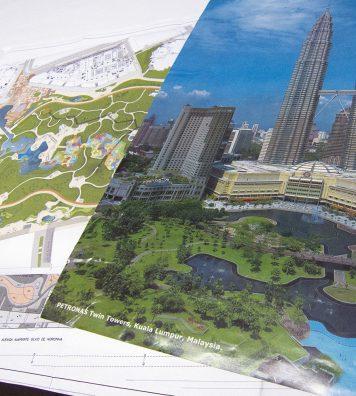 Le plan de rénovation pour les Twin Towers de Kuala Lumpur. Formes abstraites, contours sinueux, points d'eau, végétation locale… autant de caractéristiques de l'œuvre de Burle Marx.