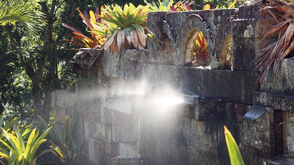Des pierres de démolition composent ce mur du « sitio » de Roberto Burle Marx. Il dessinait ses jardins avec rigueur mais laissait ensuite la flore tropicale s'exprimer, à l'instar de ces broméliacées.