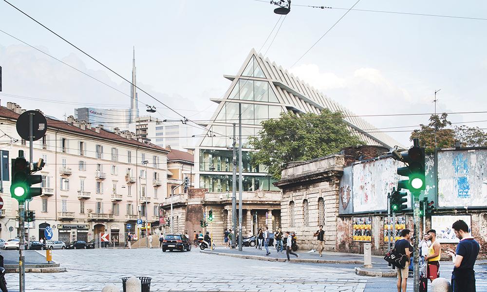 Feltrinelli Porta Volta, Milan. Conçue pour la Fondazione Giangiacomo Feltrinelli, la structure s'adapte entièrement à son site historique, et s'inspire de par ses volumes de monuments tels que l'Ospedale Maggiore, la Rotonda della Besana, et le Castello Sforzesco, selon les architectes.