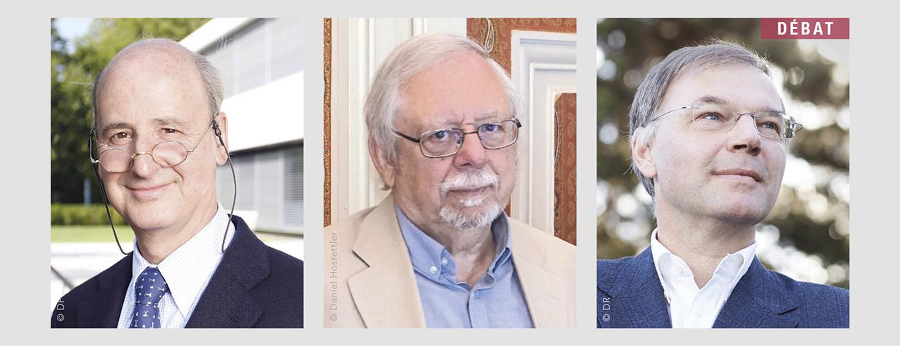 De gauche à droite : Stéphane Garelli, professeur à l'IMD - Marian Stepczynski, économiste et ancien directeur du « Journal de Genève » - Tibère Adler, directeur romand d'Avenir Suisse.