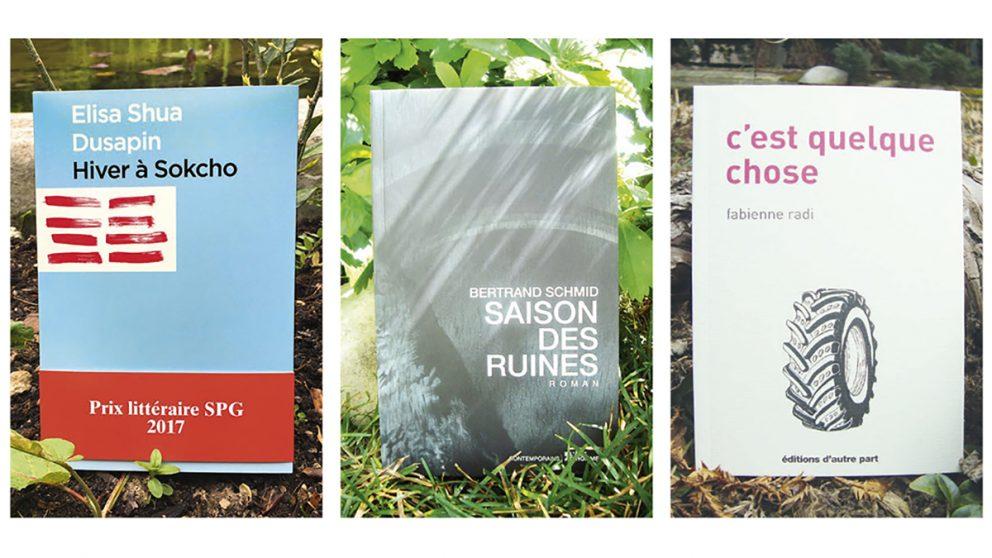 Prix littéraire SPG 2017. Cette année, les membres du jury du Prix littéraire SPG ont reçu trente-quatre premiers romans, soit six de plus que l'année passée. La lauréate du Prix SPG 2017 est Élisa Shua Dusapin pour son livre « Hiver à Sokcho » publié aux Éditions Zoé. Les deux autres finalistes sont : Bertrand Schmid pour « Saison des ruines » aux Éditions L'Âge d'Homme et Fabienne Radi pour « C'est quelque chose » aux Éditions D'autre part.