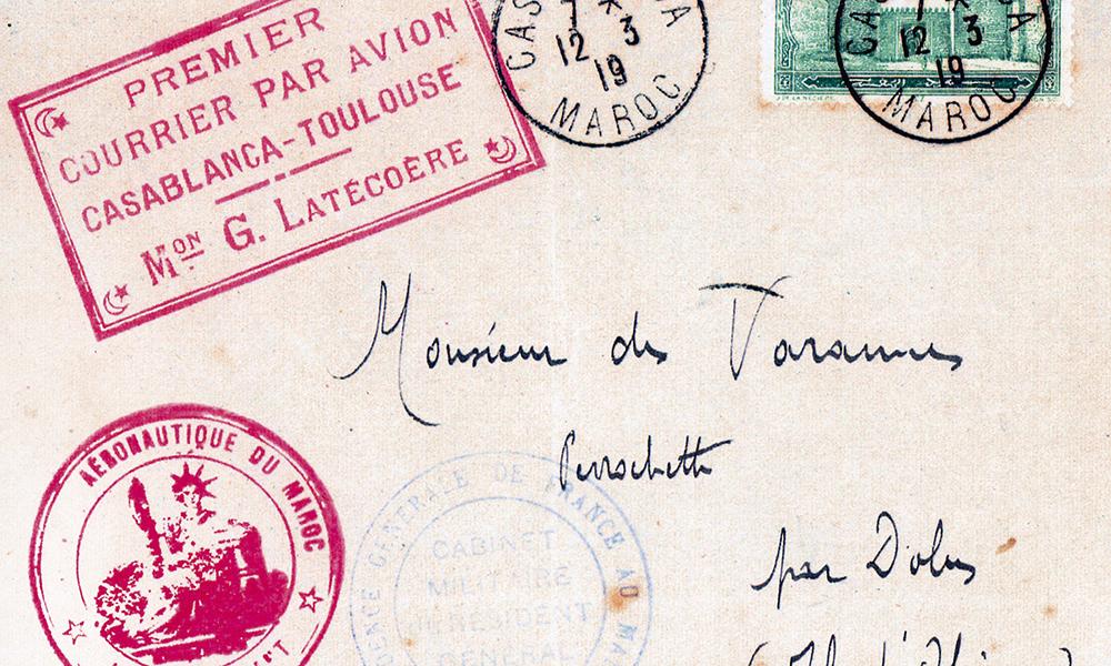 En 1919. Premier courrier par avion Casablanca-Toulouse.