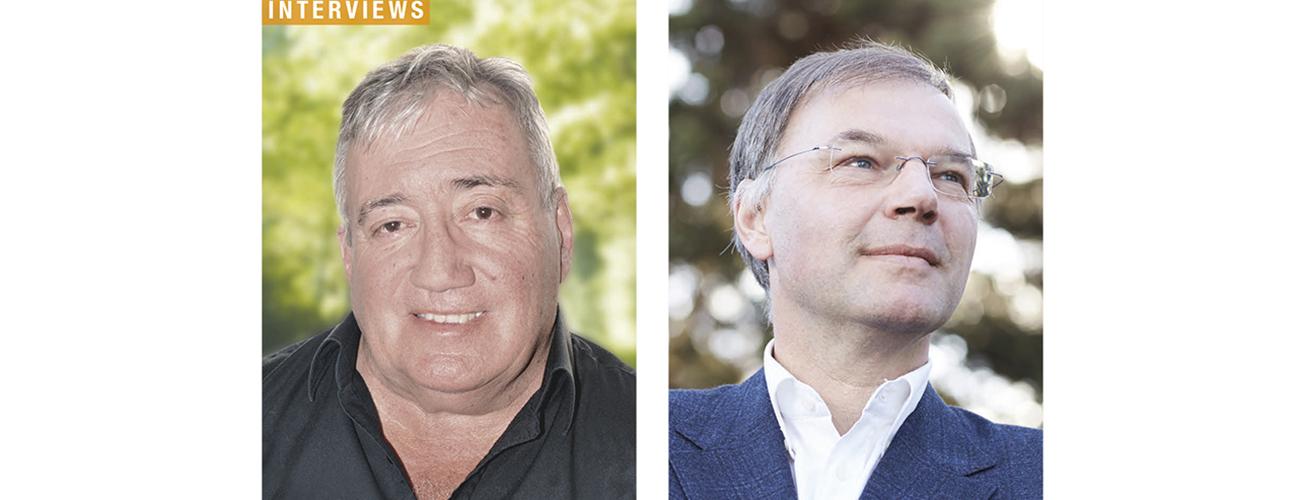 Gérard Deshusses, ancien conseiller municipal socialiste à Genève et enseignant, et Tibère Adler, directeur romand d'Avenir Suisse.