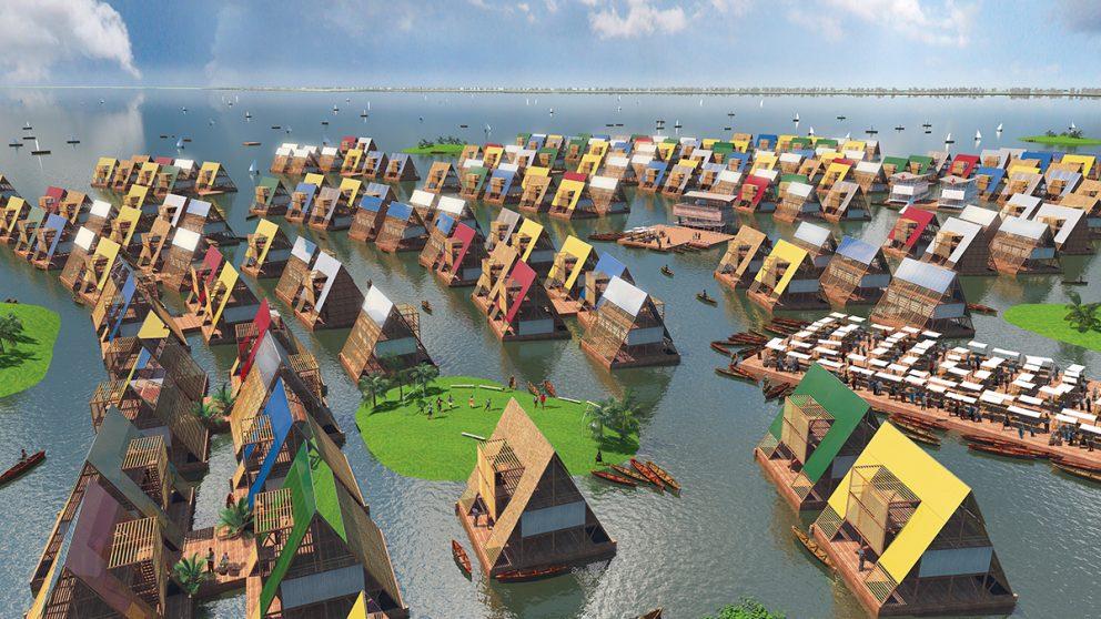 Lagos Water Communities Project dans le lagon de Lagos au Nigeria. En lien avec son école flottante, l'architecte Kunlé Adeyemi propose un projet pour la rénovation de Mokoko, mais aussi pour d'autres zones côtières en Afrique.