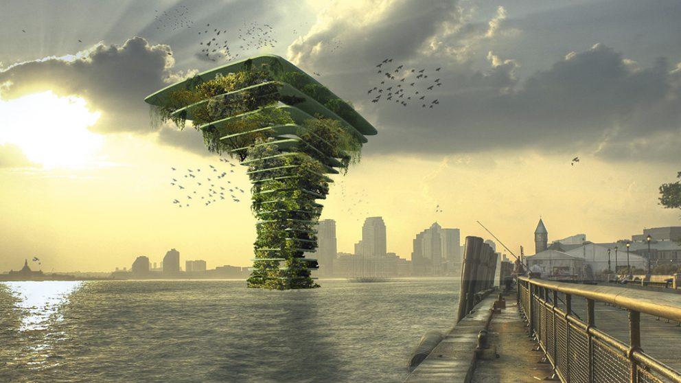 Sea Tree au cœur de New York. Une structure imaginaire qui pourrait flotter au large de New York et être habitée uniquement par la faune et le flore.
