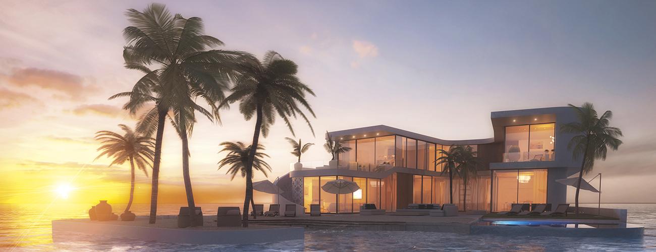 Île Amillarah à Miami aux États-Unis (photomontage). Vue de synthèse d'une luxueuse île privée qui pourrait voir le jour sur un lac de 71 hectares situé entre l'Atlantique et l'Intercostal Waterway.