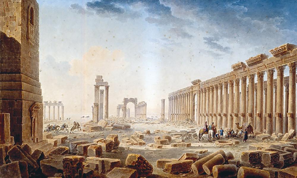 Les ruines de Palmyre par Louis-François Cassas (1756-1827), plume, encre de Chine et aquarelle. Cette aquarelle, datée de 1821, qui représente Palmyre est suggestive de l'imaginaire que véhiculaient, déjà au XIXe siècle, les ruines de la « perle du désert ».