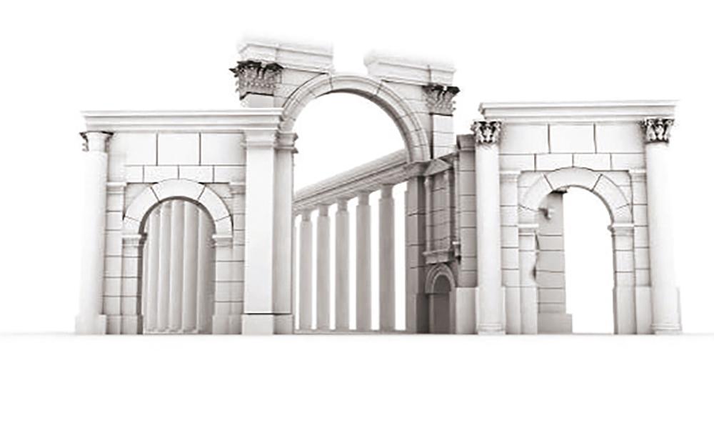 Reconstitution de l'arc de triomphe de Palmyre (classé au patrimoine mondial de l'UNESCO). Daté de janvier 2016 et effectué par New Palmyra, ce projet participatif a été lancé en octobre 2015 sur Internet et se base sur les croquis et photographies réalisés par un opposant au régime syrien.