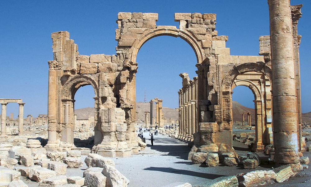 L'arc de triomphe de Palmyre (classé au patrimoine mondial de l'UNESCO). © AFP