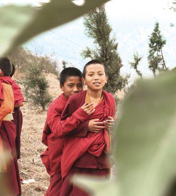 De jeunes moines profitent d'une pause. Ils vivent dans le temple de Drukpa Kinley à Punakha.