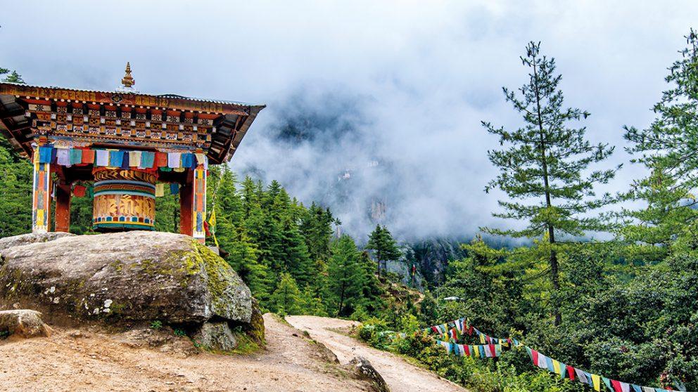 Un moulin à prière du monastère Taktsang dans la vallée de Paro.