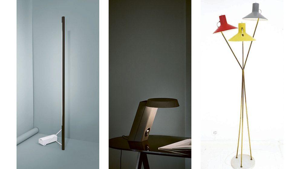 Six exemples de luminaires de Gino Sarfatti dont le fameux lampadaire 1063 en tube néon de 1954 (en bas à gauche).