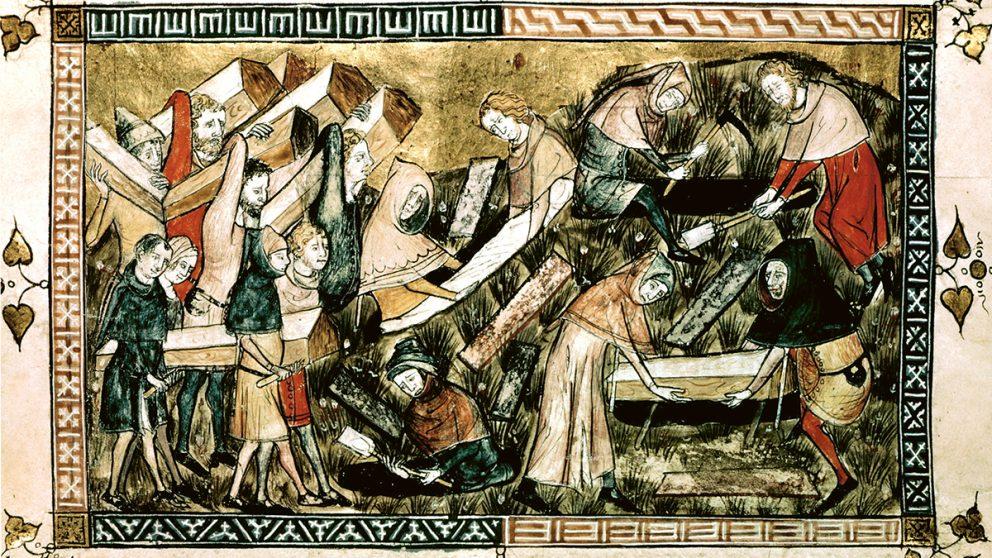 Enterrement de pestiférés à Tournai en 1349. L'une des premières représentations de la grande peste qui ravagea l'Europe au XIVe siècle. L'esprit humain a une propension à oublier les pandémies du passé.