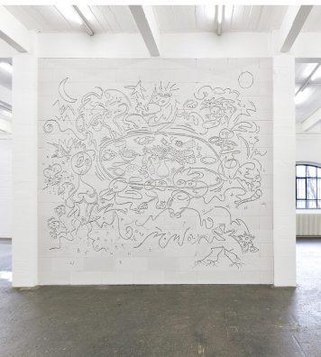 Vue de l'exposition La fine ligne à la Kunsthalle de Saint-Gall. Le Neuchâtelois Simon Paccaud s'exprime aussi bien dans la rue que dans les centres d'art.