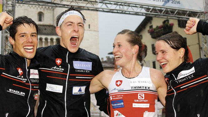 Judith Wyder. Gagnante de l'épreuve sprint aux championnats du monde 2014, Judith Wyder (en maillot) est la nouvelle star de la course d'orientation en Suisse.