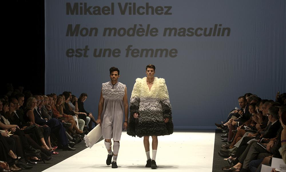 Défilé HEAD 2014. La collection Bachelor de Mikael Vilchez, « Mon modèle masculin est une femme », ravit le public et fut lauréate ex æquo du prix HEAD – Bongénie.