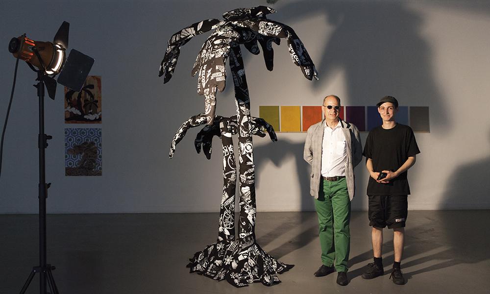 Master Arts visuels – Work.Master. Œuvre de l'étudiant Yoan Mudry qui présente son travail en présence du directeur Jean-Pierre Greff.
