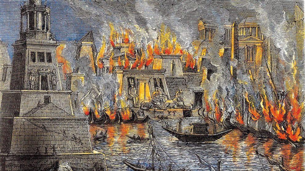 Les bibliothèques. L'incendie de la bibliothèque d'Alexandrie.