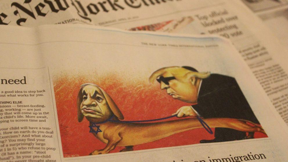 #135 – Dossier – Caricature montrant Benjamin Netanyahou et Donald Trump.